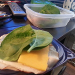 One of our lunches is meat, cheese, spinach - we roll 'em up and get to snacking!